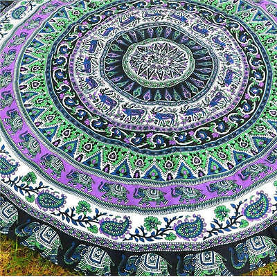 Boho Tapestry Beach Throw Towel Mandala Round Indian Hippie Picnic Blanket #9