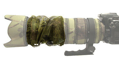 ZOOM COVER : MESH lens camouflage fits all large telephoto lenses : Green camo