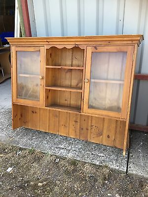 Vintage Pine Dresser Top Glass Doors Farmhouse Kitchen Rustic  19/6/M