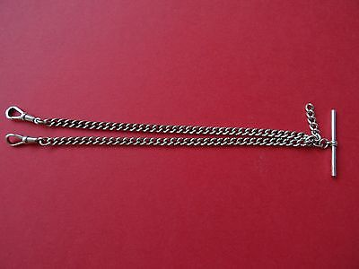 Vintage Sterling Silver Double Albert Pocket Watch Chain/T-bar and Dog Clips