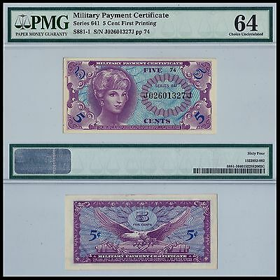 Series 641 5¢ Military Payment Certificate PMG 64 Choice UNC CU Note US currency
