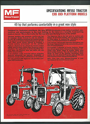 MASSEY FERGUSON MF550 TRACTOR SPECIFICATIONS BROCHURE, single page double sided