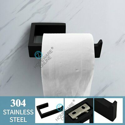 Toilet Paper Holder Tissue Roll Matt Black Square Stainless Steel Wall Mounted