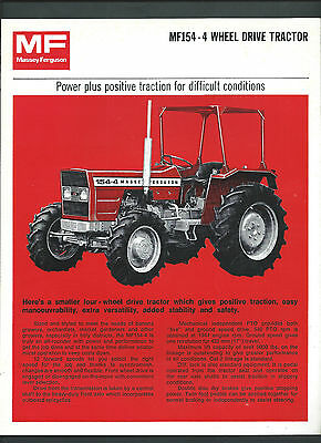 MASSEY FERGUSON MF154 TRACTOR SPECIFICATIONS BROCHURE, single page double sided