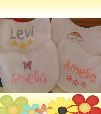 Personalised Baby bib vest babygrow sets 4 choices design any colour/name added