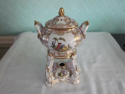 Kpm Berlin Porcelain Potpourri Jar With Lid. Art Nouveau Decoration.