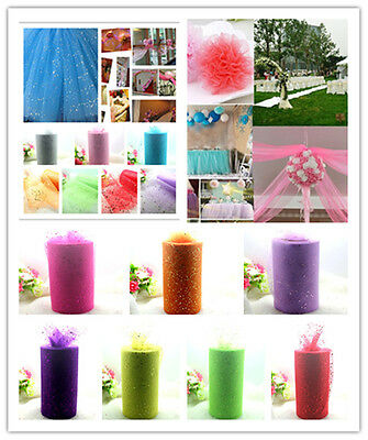 Glitter Tutu Tulle Roll Spool Wedding Party Bridal Wrap Fabric Craft Decor  6""