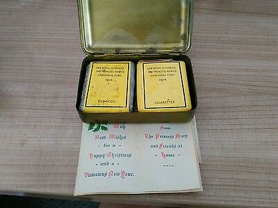 1914 WW1 Christmas box containing tobacco/cigerettes and card