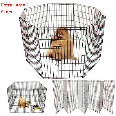 Extra Large 8 Panel Pet Play Pen Dog Puppy Animal Rabbit Run Cage Fence 91cm