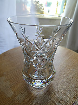 "Small lead crystal cut glass vase 4 1/2"" high"