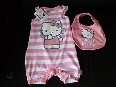 Disney Hello Kitty Baby Romper And Bib Set Mont 12-18 months. bnwt