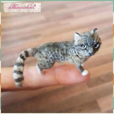 OOAK Hand Sculpted Realistic Miniature Cat Pet Animal Dollhouse 1:12th Scale