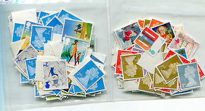 100 x 1st class & 100 x 2nd class unfranked off paper stamps