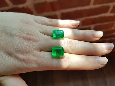 Pair 18.31 Carat  Certified Natural Loose Colombian Emerald Gemstone