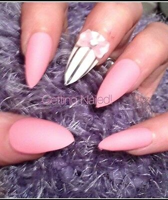 Hand Painted Matte Light Pink Full False Nails Avail Square Stiletto Oval B
