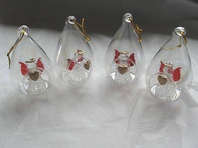 Blown Glass Angel Baubles - Set of 4 - Substandard