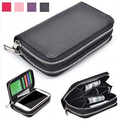 Double Zip Wallet Bag ID Card PU Leather Case Cover For iphone Various Phone