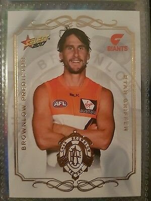 2017 AFL SELECT FOOTY STARS BROWNLOW PREDICTOR Ryan Griffen 209/275 GWS