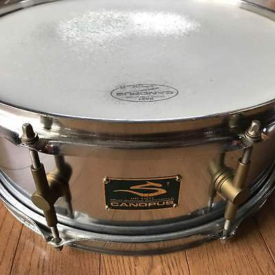 """Used! CANOPUS Steel Snare Drum 14""""x5"""" Made in Japan"""