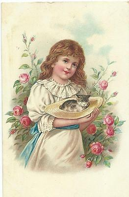 Pretty Girl carries cat in her straw hat   Early Chromolitho