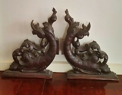 Stunning antique mahogany carvings carved fish sea nautical parts make bookends