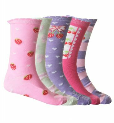 5 Pack Girls Children's Kids Designer Character Cotton Socks All Sizes Available