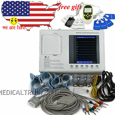 CE FDA 12-lead Digital 3-channel interpretation Electrocardiograph ECG Machine