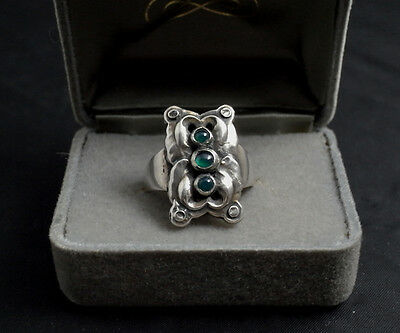 GEORG JENSEN # 62 Sterling Silver Ring with Green Agate Euro 62