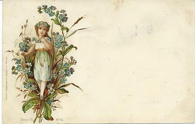Fairy Child in Forget-me-nots  Early  Wezel & Naumann