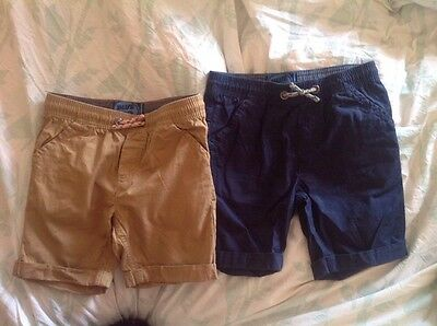 Boys shorts, age 7 x2, Navy And Beige