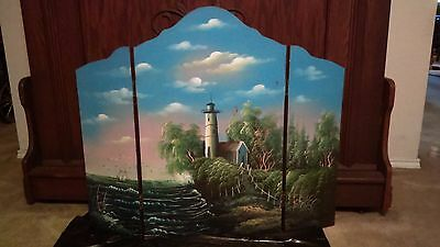 Vintage Wood Hand painted Fireplace screen Fire Screen Summer cover light house