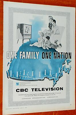 1958 Cbc Television One Family One Nationa Vintage Ad - Canadian Boradcasting Tv