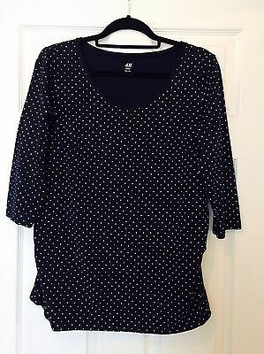 Lovely H&M MAMA Maternity Top Blue With Spots Size L