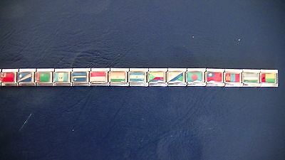 16 link nomination style flags of the world charm bracelet