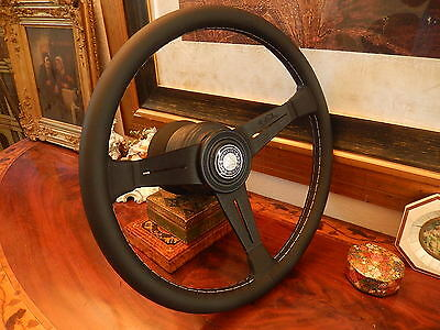 "Mercedes Steering Wheel W107 all Models 1980 - 89 Nardi Black Leather 15.3"" NOS"