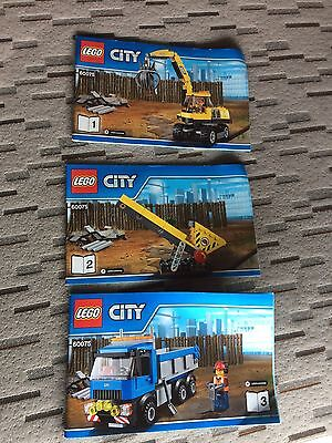Lego City 60075 Excavator And Truck Instruction Manuals Only 3 Books