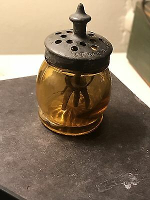 Antique Vintage Boston & Sandwich Amber Christmas Salt W Agitator