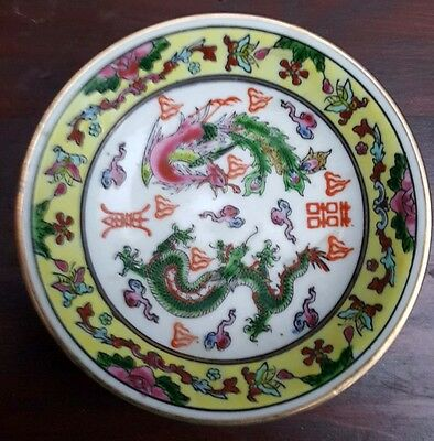 Chinese Antique/Vintage pin dish with Pheonix and dragon signed