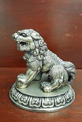 Chinese antique/vintage silver metal Foo Dog on plinth