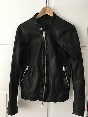 Giorgio Brato Men's Leather Jacket Black size EU 44 (UK 34)