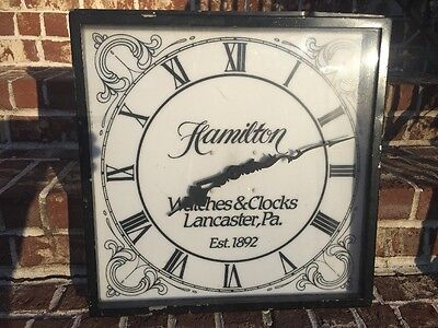 Vintage Hamilton Watches & Clocks Advertising Clock Sign, RARE 20.5""