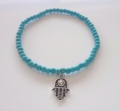 Cute turquoise bead beaded anklet ankle bracelet with silver hamsa hand charm
