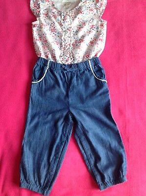 monsoon baby girl playsuit all in one size 12-18 months jumpsuit blue pink