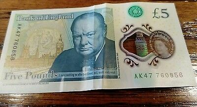 AK47 2016 Bank Of England £5 Five Pound Note VERY RARE NUMBER!!