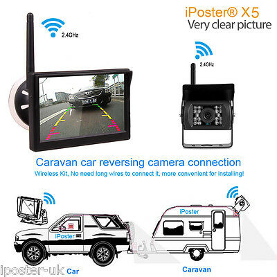 "Built-in Wireless 5"" Windows Suction Monitor+CCD Reversing Camera For Truck Van"