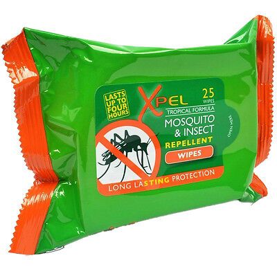 25 Xpel Tropical Formula Mosquito & Insect Repellent 25 Wipes Travel Long Lasti