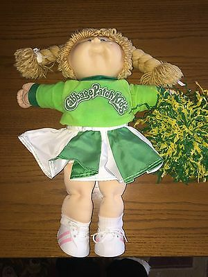 Vintage 80's Cabbage Patch Kids Doll Blonde Braid Blue Eyes 1 Dimple Cheerleader