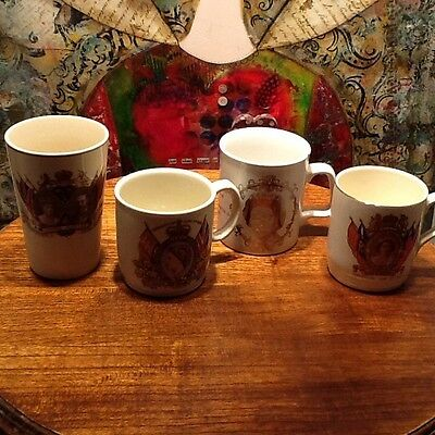 Collectors Set of 4 (3 mugs 1 beaker) King George,QE II Coronation,Jubilee