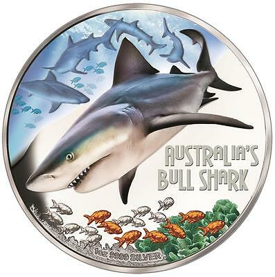 2017 Tuvalu $1 Deadly & Dangerous Bull Shark Perth Mint 999 Silver Proof Coin