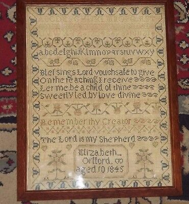 Antique Framed Embroidery Sampler from 1845- Good Condition Named